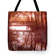 Bridge In Red Tote Bag
