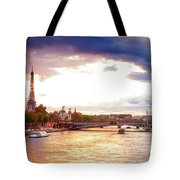 Bridge Of Alexandre IIi And Eiffel At Violet Sunset Tote Bag