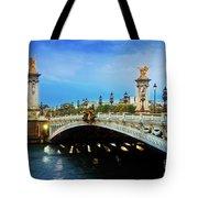 Bridge Of Alexandre IIi At Night Tote Bag