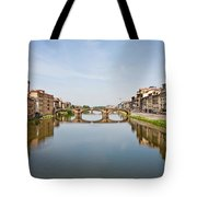 Bridge Over Arno River In Florence Italy Tote Bag