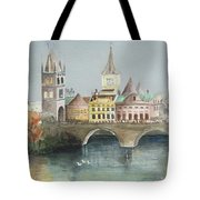 Bridge Over The Lake Tote Bag