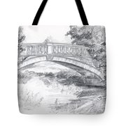 Bridge Over The River White Cart Tote Bag by Brandy Woods