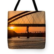 Bridge Sunrise And Boater Tote Bag