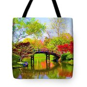 Bridge With Red Bushes In Spring Tote Bag