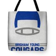 Brigham Young Cougars Vintage Football Art Tote Bag
