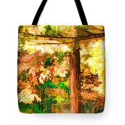 Bright Colored Leaves On The Branches In The Autumn Forest Tote Bag