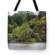 Bright Colors Of Autumn Trees On A Lake , Autumn Landscape. Tote Bag
