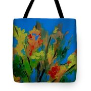 Bright Flowers On Blue Tote Bag
