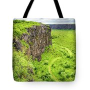 Bright Green Asbyrgi Canyon In Iceland Tote Bag