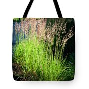 Bright Green Grass By The Pond Tote Bag