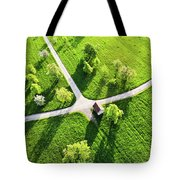 Bright Green Spring Meadow Aerial Photo Tote Bag