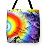 Bright Rainbow And Mountains. Cyborg's Land Tote Bag