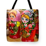 Bright Russian Matrushka Puzzle Dolls Tote Bag