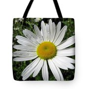 Bright White Flower With Water Droplets Tote Bag