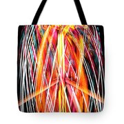 Brightly Colored Abstract Light Painting At Night From The Fireb Tote Bag