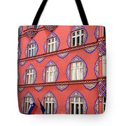 Brightly Colored Facade Of Cooperative Business Bank Building Or Tote Bag