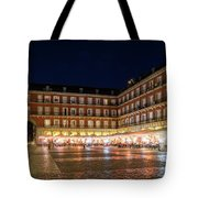 Brightly Lit Midnight - Plaza Mayor In Madrid Spain Tote Bag