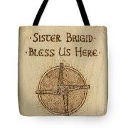 Brigid's Cross Blessing Woodburned Plaque Tote Bag