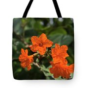Brilliant Orange Tropical Flower Tote Bag