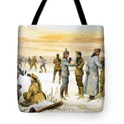 British And German Soldiers Hold A Christmas Truce During The Great War Tote Bag