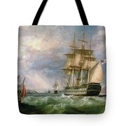 British Men-o'-war Sailing Into Cork Harbour  Tote Bag