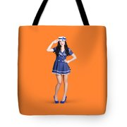 British Navy Blue Pin Up Girl Saluting Tote Bag