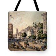 Broadway In The Nineteenth Century Tote Bag by Augustus Kollner