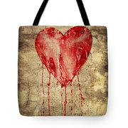 Broken And Bleeding Heart On The Wall Tote Bag