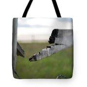 Broken Fence Stormy Skies Tote Bag