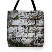 Broken Stucco Wall With Whitewashed Exposed Brick Texture And Ve Tote Bag