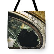Broken Window On A Rusty Scraped Classic Car Tote Bag