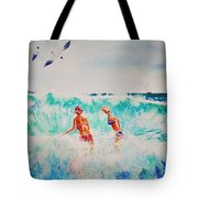 Brooke And Carey In The Shore Break Tote Bag