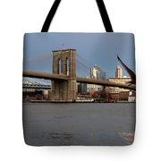 Brooklyn Bridge And Bird In Flight Tote Bag