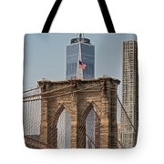 Brooklyn Bridge And One World Trade Center In New York City  Tote Bag
