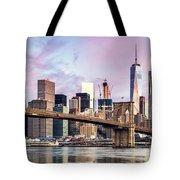 Brooklyn Bridge And Skyline At Sunrise, New York, Usa Tote Bag