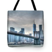 Brooklyn Bridge And The Lower Manhattan Financial District Tote Bag