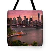 Brooklyn Bridge Over New York Skyline At Sunset Tote Bag