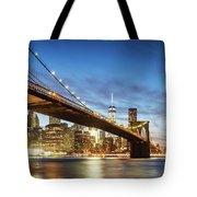 Brooklyn Bridge Panoramic At Night, New York, Usa Tote Bag