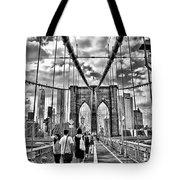Brooklyn Bridge Walkway   B  And  W Tote Bag