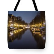 Brouwersgracht Canal In Amsterdam At Night. Tote Bag