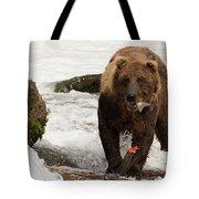 Brown Bear Eating Salmon Tail Beside Rocks Tote Bag