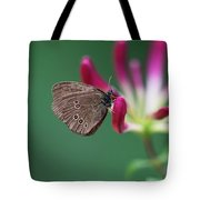 Brown Butterfly Resting On The Pink Plant Tote Bag