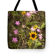 Brown Eyed Susans With Rose Gentian Flowers Tote Bag