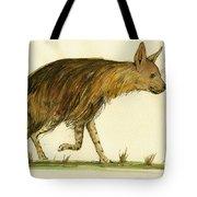 Brown Hyena Animal Art Tote Bag