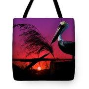 Brown Pelican At Sunset - Painted Tote Bag