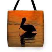 Brown Pelican At Sunset Tote Bag