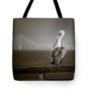 Brown Pelican On St. Simons Island Pier - Bw Tote Bag