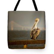 Brown Pelican On St. Simons Island Pier Tote Bag