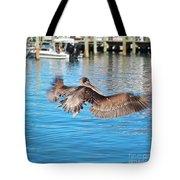Brown Pelican Taking Flight Tote Bag
