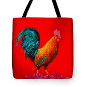 Brown Rooster On Red Background Tote Bag